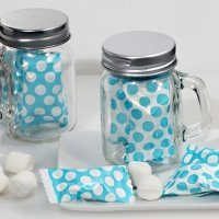 Dots Design Mint Candy Favors with Mason Jar (Blue or Pink)