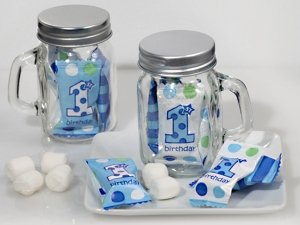 First Birthday Mint Candy Favor Mason Jars (Boy or Girl) image
