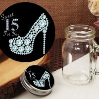 Dazzling Shoe Sweet 15 Design Vintage Mini Mason Jar Favor