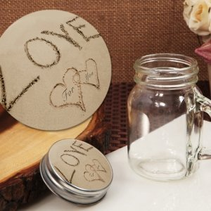 Love on the Beach Vintage Mini Mason Jar Favor image