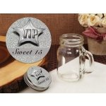 Silver Sweet 15 Vintage Mini Mason Jar Favors