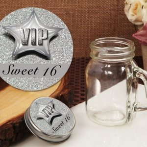 Silver Sweet 16 Vintage Mini Mason Jar Favors image