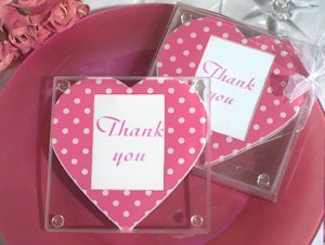 Pink and White Dot Heart Photo Coasters image