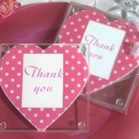 Pink and White Dot Heart Photo Coasters