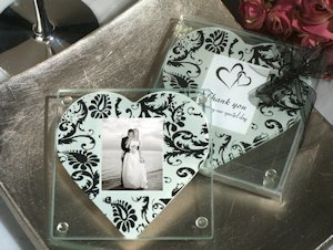 Damask Heart Photo Coaster Wedding Favors image