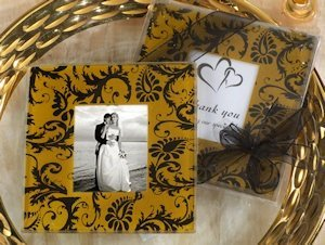 Gold and Black Damask Design Photo Coaster image