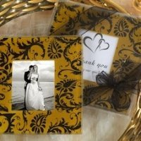 Gold and Black Damask Design Photo Coaster