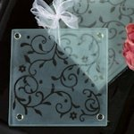 Frosted Damask Elegance Coaster Favor