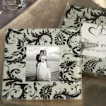 Damask Design Glass Photo Coaster Favors