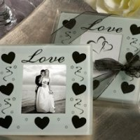 Love and Hearts Glass Photo Coaster Favors