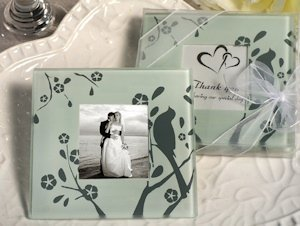 Lovebird Design Glass Photo Coaster Favors image