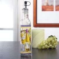 Glass Oil Bottle with White Wine Motif