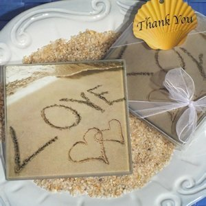 Love on the Beach Glass Coasters image