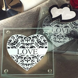 Stylish Damask Love Coasters image