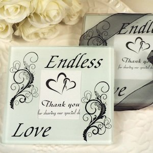 Glass Endless Love Coasters Wedding Favors image