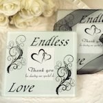 Glass Endless Love Coasters Wedding Favors