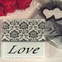 Lovely Damask and Love Glass Coasters
