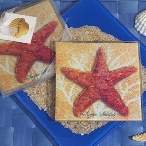 Starfish Glass Coaster Set image