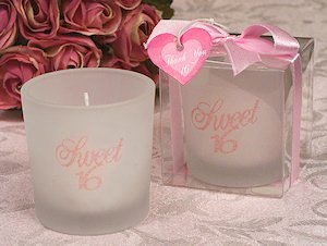 Round Sweet 16 Party Favor Candles image