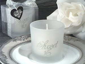 Silver Glitter Candle Sweet 16th Birthday Party Favors image