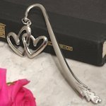 Silver Double Heart Bookmark
