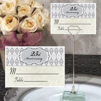 25th Anniversary Place Card with Metal Holder