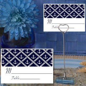 Nautical Anchors Place Card with Metal Place Card Holder image