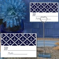 Nautical Anchors Place Card with Metal Place Card Holder