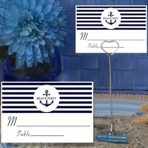 Beach Party Nautical Place Card with Metal Place Card Holder image