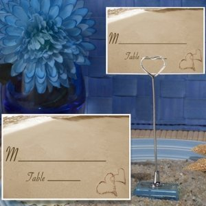 Two Hearts Beach Place Card with Metal Holder image