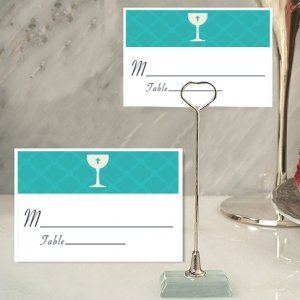 Blue Communion Place Card with Metal Place Card Holder image