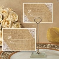 Burlap and Lace Design Place Card with Holder