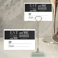 Eat Drink and Be Married Place Card with Metal Holder