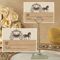 Rustic Coach Design Place Card with Metal Holder