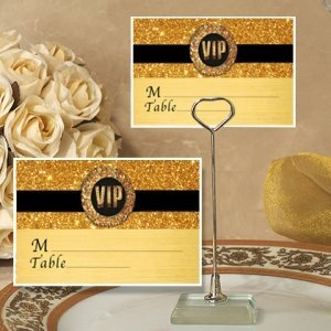 Gold Sparkle VIP Place Card with Metal Holder image
