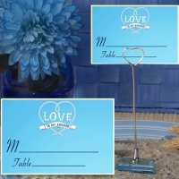 Love Is My Anchor Blue Place Card with Metal Holder