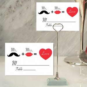Whimsical Mr and Mrs Place Card with Metal Holder image