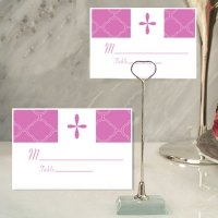 Pink Cross Design Place Card with Metal Holder