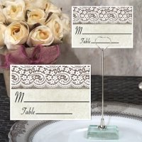 Rustic Lace Design Place Card with Metal Holder