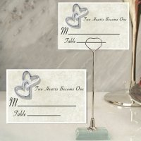 Two Hearts Become One Place Card with Metal Holder