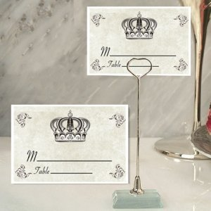 Royal Crown Design Place Card with Metal Holders image