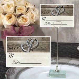 Rustic Two Hearts Design Place Card with Metal Holder image