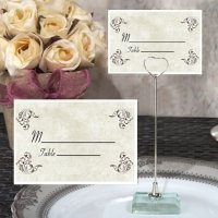 Elegant Scrolls Place Card with Metal Holder