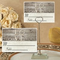 Rustic Love Design Place Card with Metal Holder