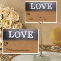 Vintage Love Design Place Card with Metal Holder