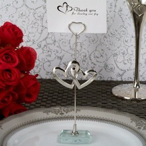 Two Hearts Become One Silver Place Card Holder image