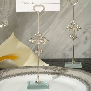 Silver Cross Place Card Holder image