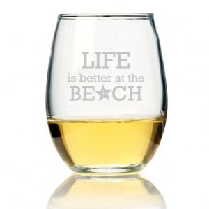 Life is Better At The Beach Stemless Wine Glass (Set of 4) image