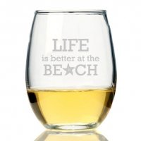 Life is Better At The Beach Stemless Wine Glass (Set of 4)