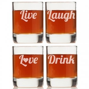 Live Laugh Love Drink Rock Glasses (Set of 4) image